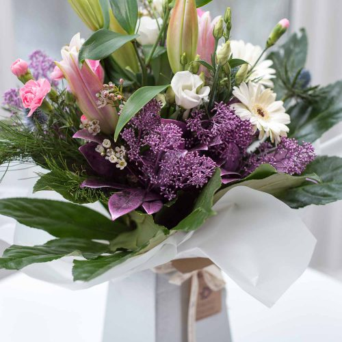Winter charm bouquet in white box vase
